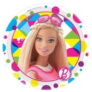 "7"" Barbie Round Paper Dessert Party Plates, 8Ct"